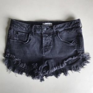 Forever 21 Frayed Distressed Stretchy Black Shorts
